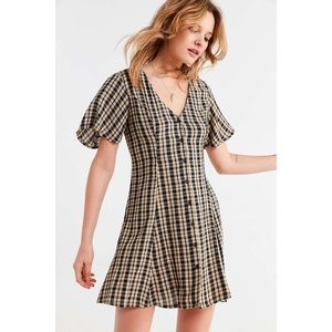Urban Outfitters Checkered Lace Up Dress
